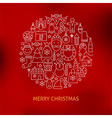 Thin Line Merry Christmas Holiday Icons Set Circle vector image vector image