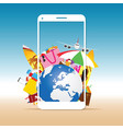 travel summer with white phone vector image vector image