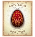 Vintage happy easter and holy week card vector image