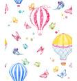 watercolor air baloon pattern vector image vector image