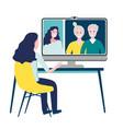 woman having online meeting with parents or eldery vector image vector image