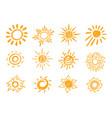 yellow hand drawn chalk sun sign icon set vector image