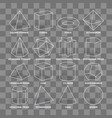 3d math geometric outline shapes isolated on vector image vector image