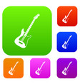acoustic guitar set color collection vector image vector image