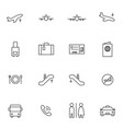 airport icon sets line icons vector image vector image