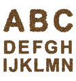 Alphabet of coffee from A to N vector image vector image