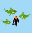 businessman among business sharks dollar vector image vector image