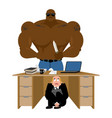 businessman scared under table of robber vector image