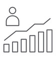 career growth thin line icon increase and diagram vector image vector image