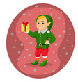 cartoon cute christmas elf with gift box vector image vector image