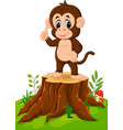 cartoon happy monkey presenting on tree stump vector image vector image