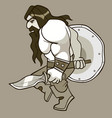 cartoon man medieval warrior with shield and vector image vector image