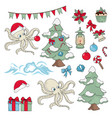 christmas octopus set vector image