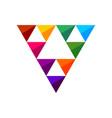 colorful triangle gems symbol logo design vector image vector image