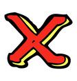 comic cartoon letter X vector image
