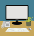 computer and telephone on working desk vector image vector image