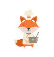 cute fox in chef uniform holding saucepan cartoon vector image vector image