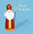 cute greeting card with saint nicholas with mitre vector image vector image