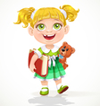 Cute little girl with a teddy bear and a book vector image vector image