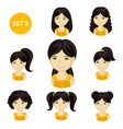 cute little girls with black hair and various hair vector image