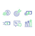 discounts target and dollar money icons set vector image vector image
