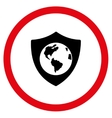Earth Shield Flat Rounded Icon vector image vector image