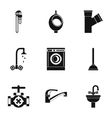 Equipment for bathroom icons set simple style vector image