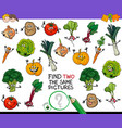 find two the same vegetables game vector image vector image