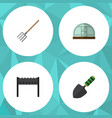 flat icon farm set of barbecue hay fork hothouse vector image vector image