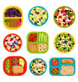 flat set of bowls with fruit salads and vector image