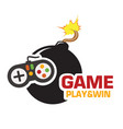 game play and win joystick black bomb image vector image vector image
