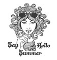 hand drawn summer in hippie style vector image vector image