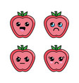 kawaii apple diferents faces icon vector image vector image