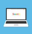 laptop with browser and search bar in flat style vector image vector image