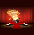 magic wand and hat on stage with curtain vector image