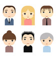 man and woman avatars set with smiling faces vector image vector image