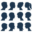 man and woman face profile silhouettes vector image vector image