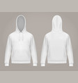 man hoodie or front and back white men hoody vector image vector image