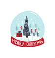 merry christmas card with christmas tree vector image