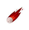 meteor or comet with burning gas tail icon flat vector image vector image