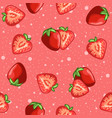 pink red seamless pattern strawberries vector image