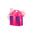 present box wrapped with pink and purple vector image