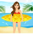 professional female surfer holding a surf board vector image
