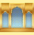 ramadan background with golden arch with golden vector image