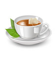 realistic detailed 3d black teabag and white tea vector image vector image