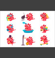 red dragon everyday activities set of vector image vector image