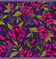 seamless pattern with peony flowers and leaves on vector image
