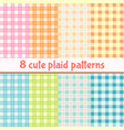 set cute plaid seamless patterns background in vector image vector image