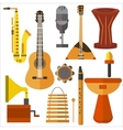 Set musical instruments guitar gramophone vector image