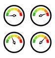 set of speedometers with different speed isolated vector image
